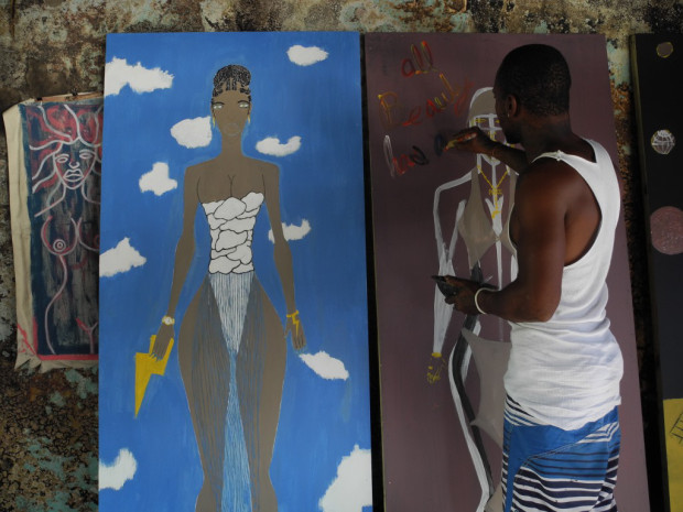 Kemar Black at work on The Creation