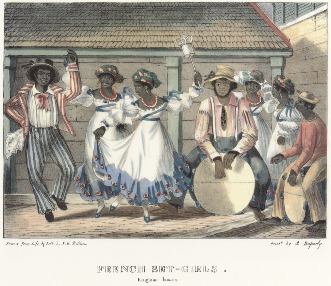 """""""French Set-Girls,"""" in  Isaac Mendes Belisario, Sketches of character, in illustration of the habits, occupation, and costume of the Negro population, in the island of Jamaica: drawn after nature, and in lithography (Kingston, Jamaica: published by the artist, at his residence, 1837-1838). http://hitchcock.itc.virginia.edu/Slavery/detailsKeyword.php?keyword=jamaica&recordCount=100&theRecord=1"""